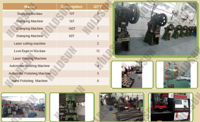 Stamping Machine 10T,Stamping Machine 16T,Stamping Machine 160T,Stamping Machine 60T,Laser Cutting Machine,Laser Engrave Machine,Laser Welding Machine,Automatic Welding Machine,Automatic Polishing Machine,Hand Polishing Machine